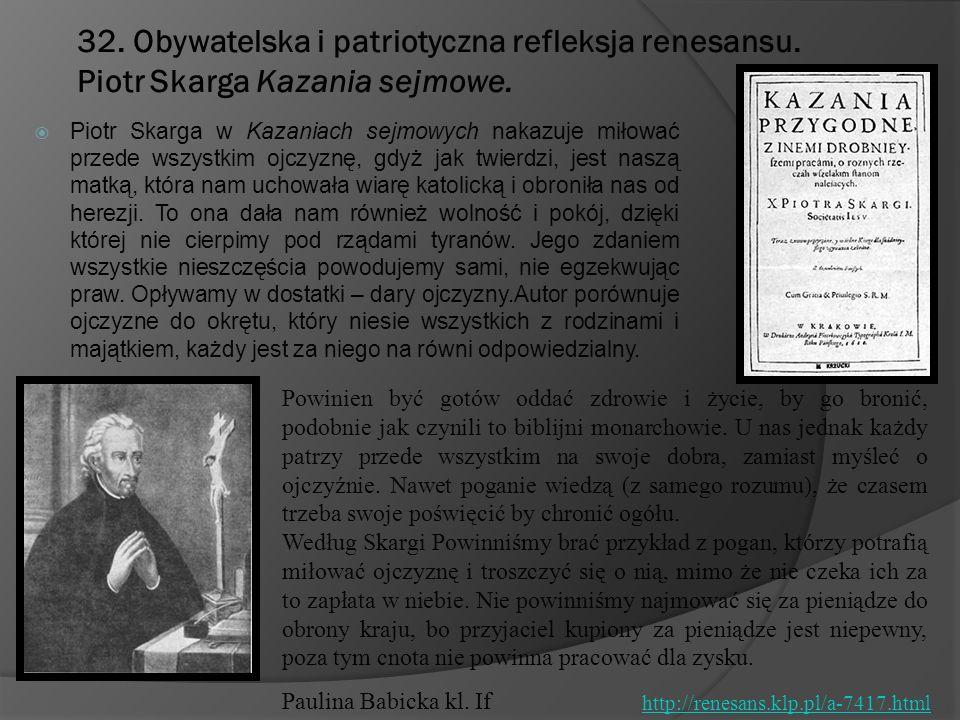 32. Obywatelska i patriotyczna refleksja renesansu