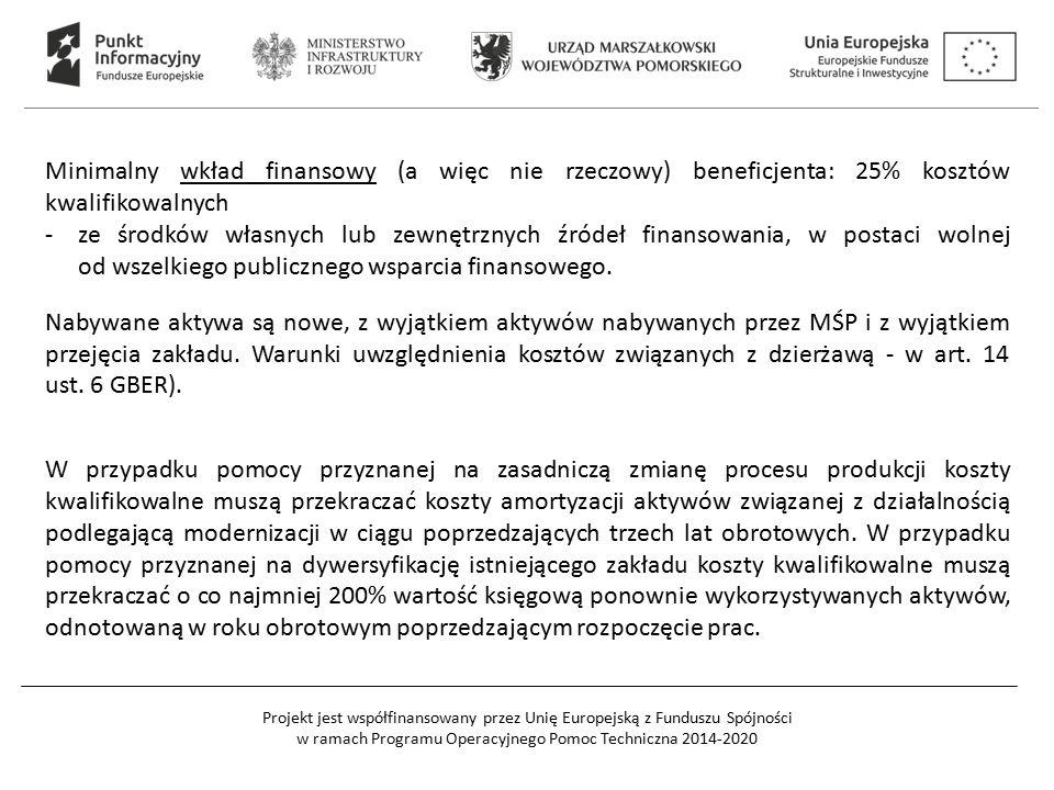 Minimalny wkład finansowy (a więc nie rzeczowy) beneficjenta: 25% kosztów kwalifikowalnych