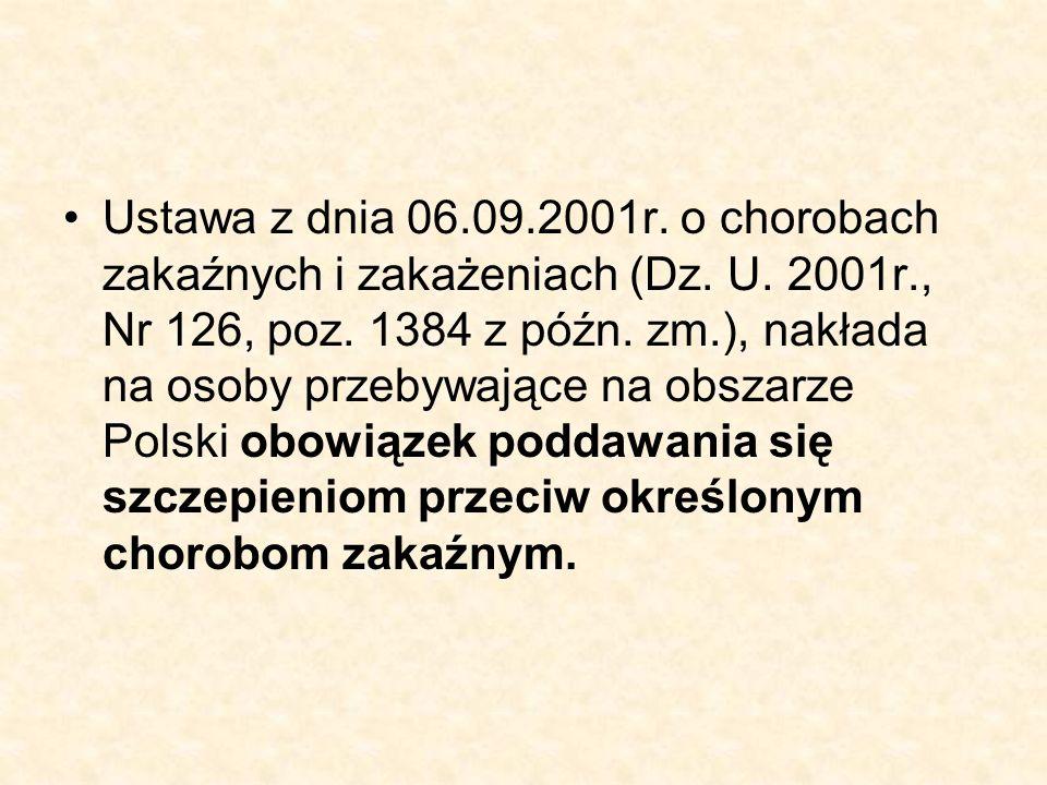 Ustawa z dnia 06.09.2001r. o chorobach zakaźnych i zakażeniach (Dz.