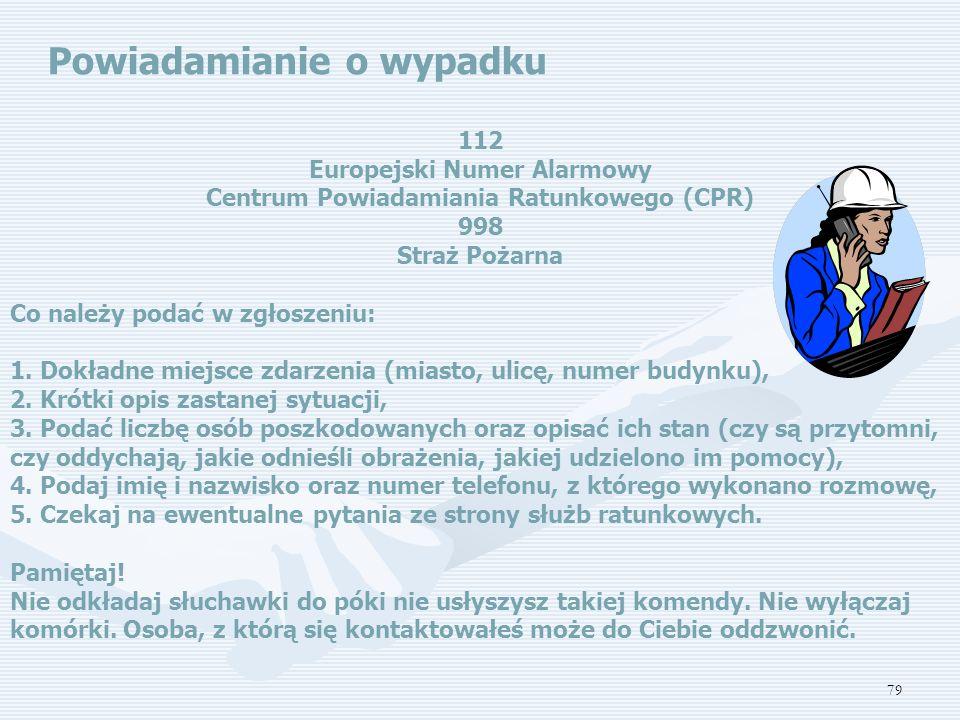 Europejski Numer Alarmowy Centrum Powiadamiania Ratunkowego (CPR)