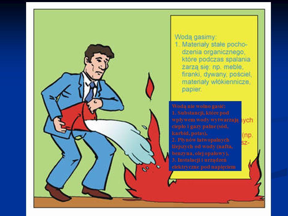 Wodą nie wolno gasić: 1. Substancji, które pod wpływem wody wytwarzają ciepło i gazy palne (sód, karbid, potas),