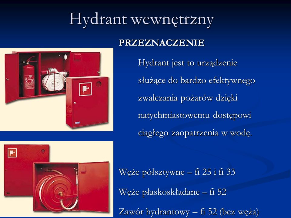 Hydrant wewnętrzny PRZEZNACZENIE Węże półsztywne – fi 25 i fi 33