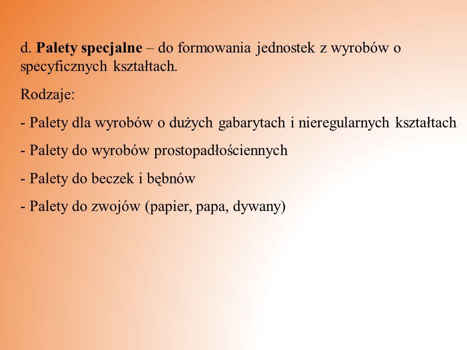 d. Palety specjalne – do formowania jednostek z wyrobów o specyficznych kształtach.