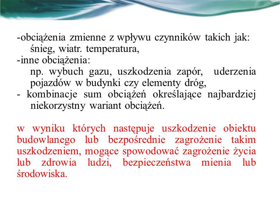 obciążenia zmienne z wpływu czynników takich jak:
