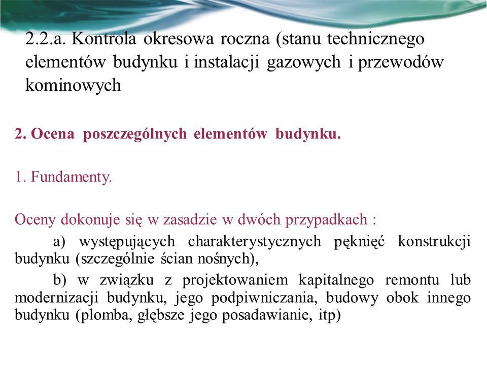 2.2.a. Kontrola okresowa roczna (stanu technicznego elementów budynku i instalacji gazowych i przewodów kominowych