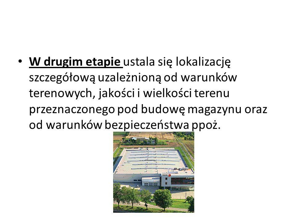 W drugim etapie ustala się lokalizację szczegółową uzależnioną od warunków terenowych, jakości i wielkości terenu przeznaczonego pod budowę magazynu oraz od warunków bezpieczeństwa ppoż.