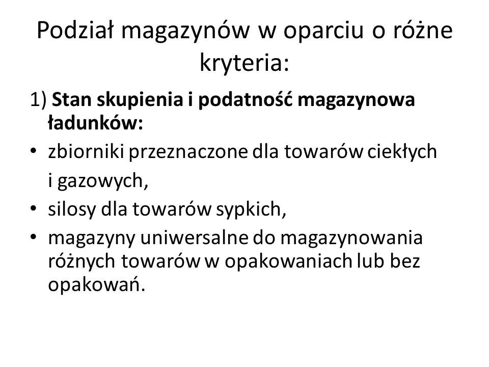 Podział magazynów w oparciu o różne kryteria: