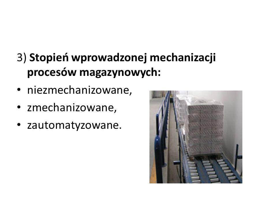 3) Stopień wprowadzonej mechanizacji procesów magazynowych: