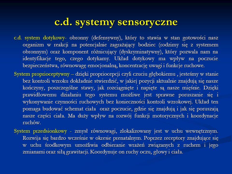 c.d. systemy sensoryczne