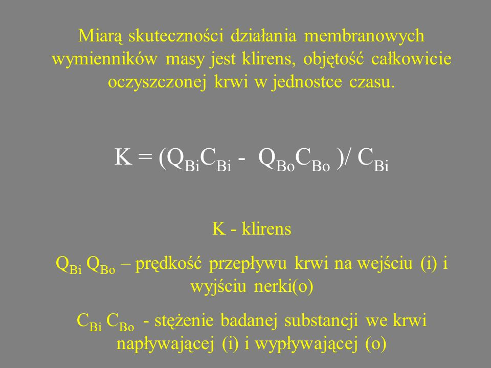K = (QBiCBi - QBoCBo )/ CBi