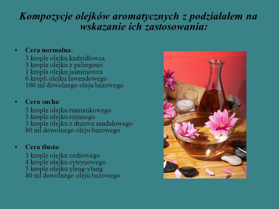 Kompozycje olejków aromatycznych z podziałałem na wskazanie ich zastosowania: