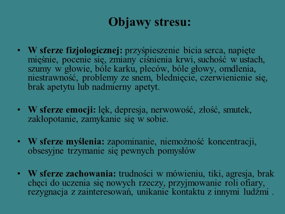 Objawy stresu: