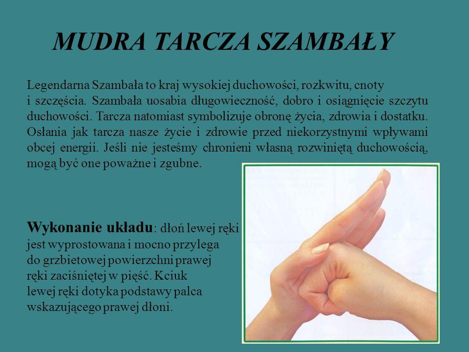 MUDRA TARCZA SZAMBAŁY Wykonanie układu: dłoń lewej ręki