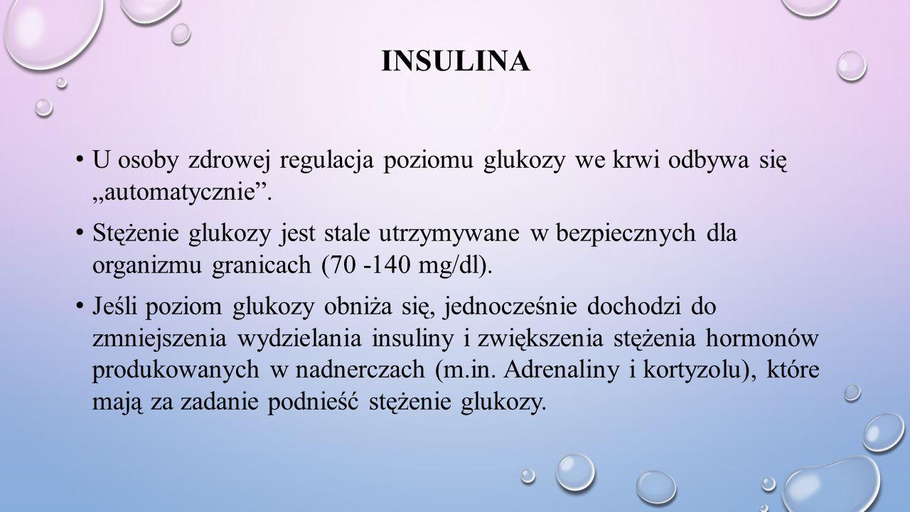 """Insulina U osoby zdrowej regulacja poziomu glukozy we krwi odbywa się """"automatycznie ."""