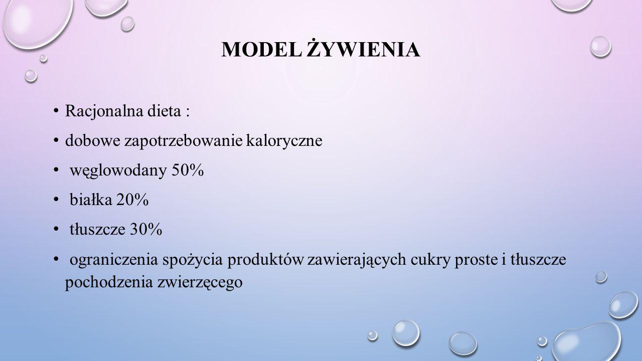 MODEL ŻYWIENIA Racjonalna dieta : dobowe zapotrzebowanie kaloryczne