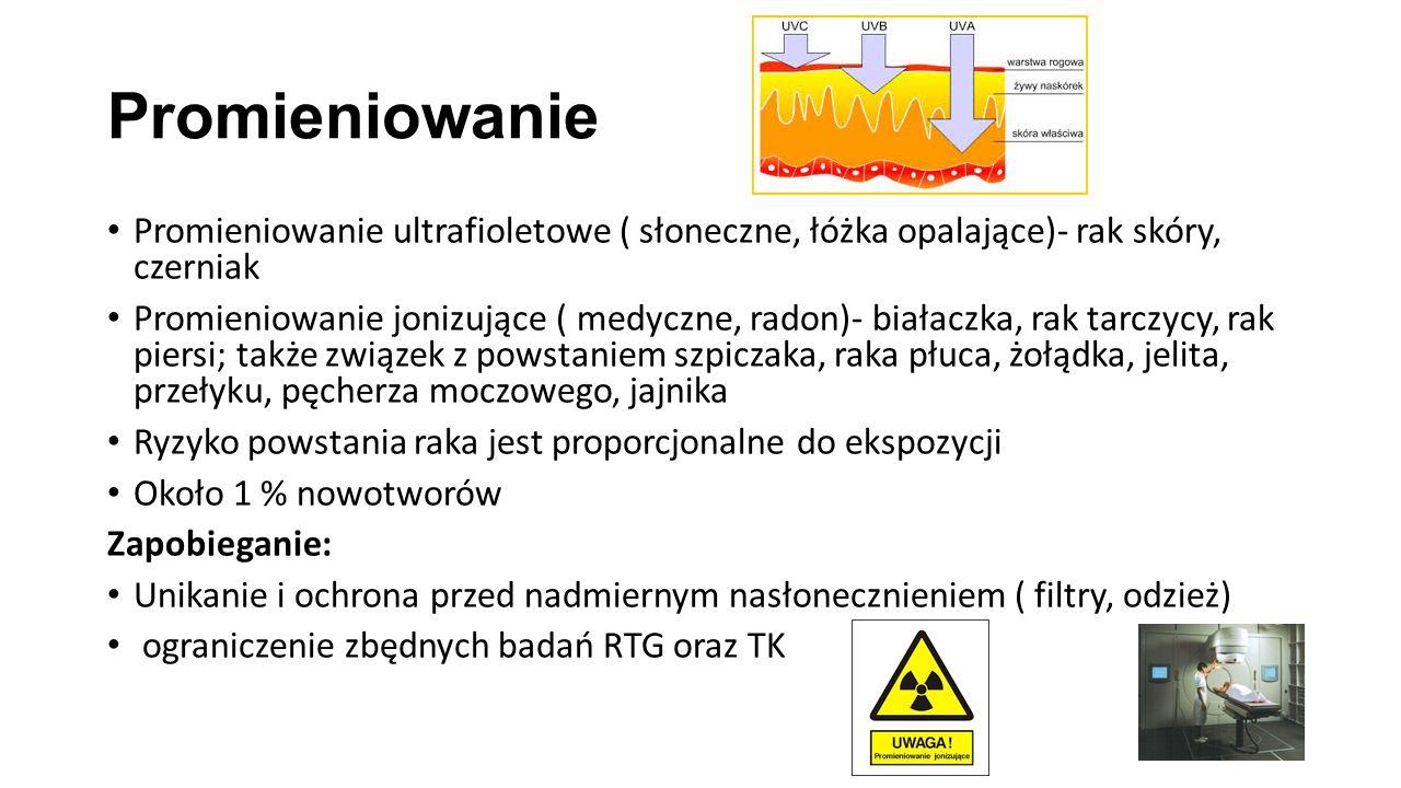 Promieniowanie Promieniowanie ultrafioletowe ( słoneczne, łóżka opalające)- rak skóry, czerniak.