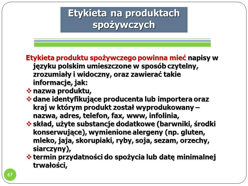Etykieta na produktach spożywczych