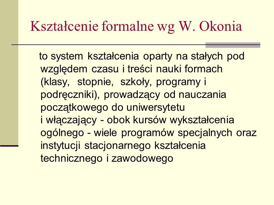 Kształcenie formalne wg W. Okonia