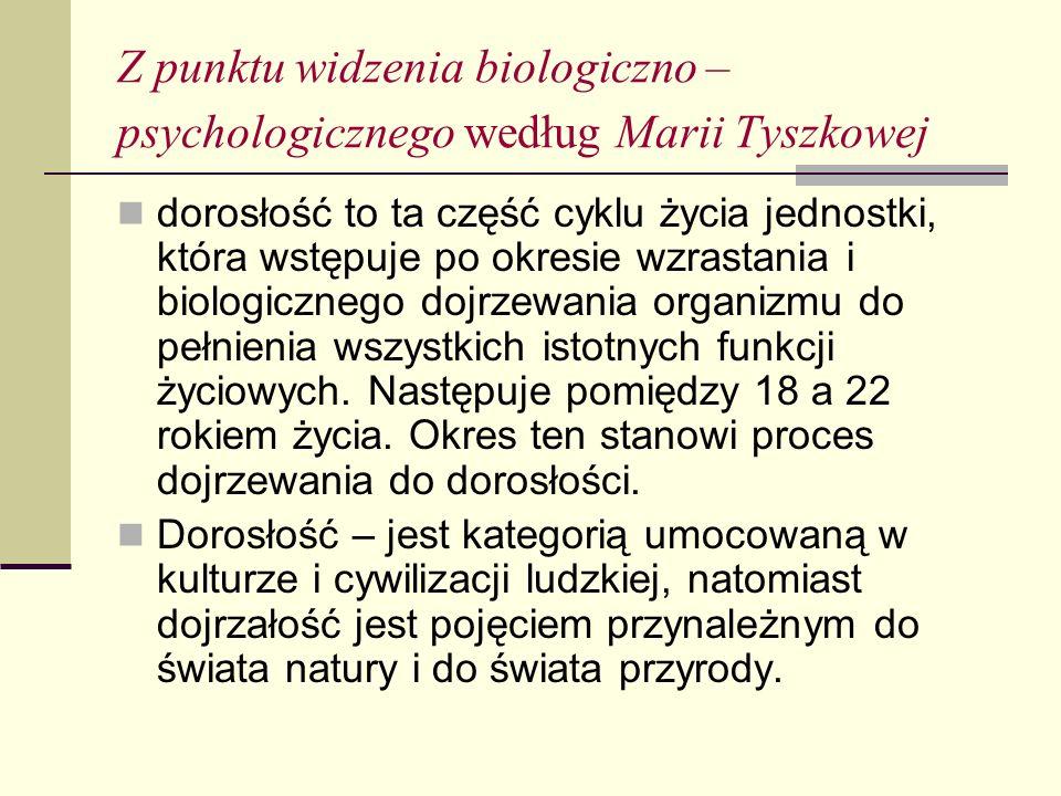 Z punktu widzenia biologiczno – psychologicznego według Marii Tyszkowej