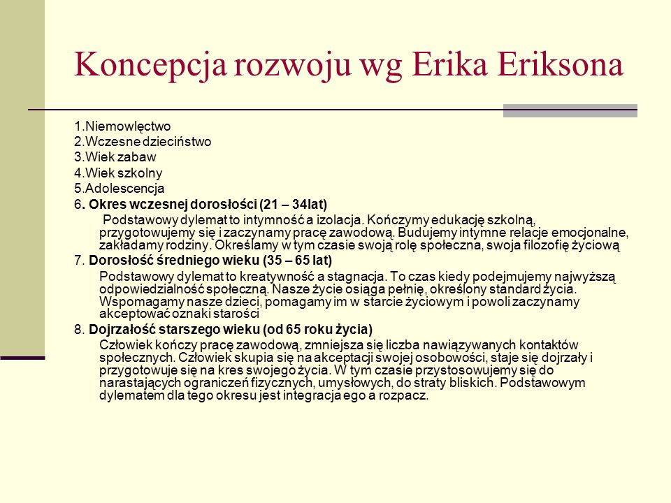 Koncepcja rozwoju wg Erika Eriksona