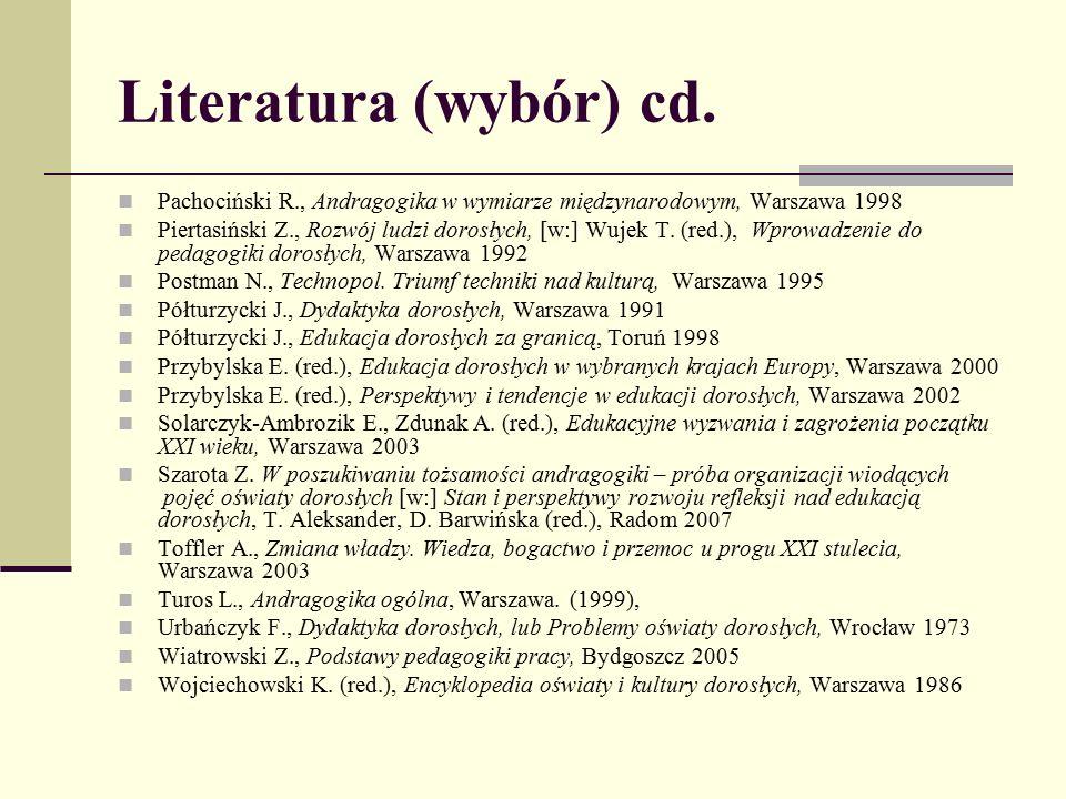 Literatura (wybór) cd. Pachociński R., Andragogika w wymiarze międzynarodowym, Warszawa 1998.