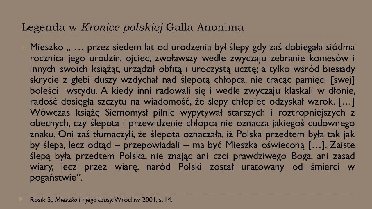 Legenda w Kronice polskiej Galla Anonima