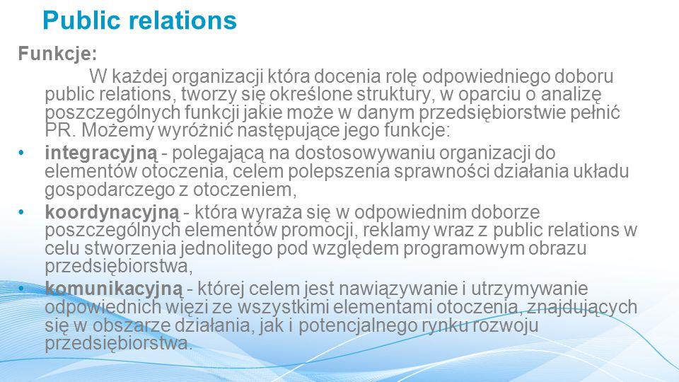 Public relations Funkcje: