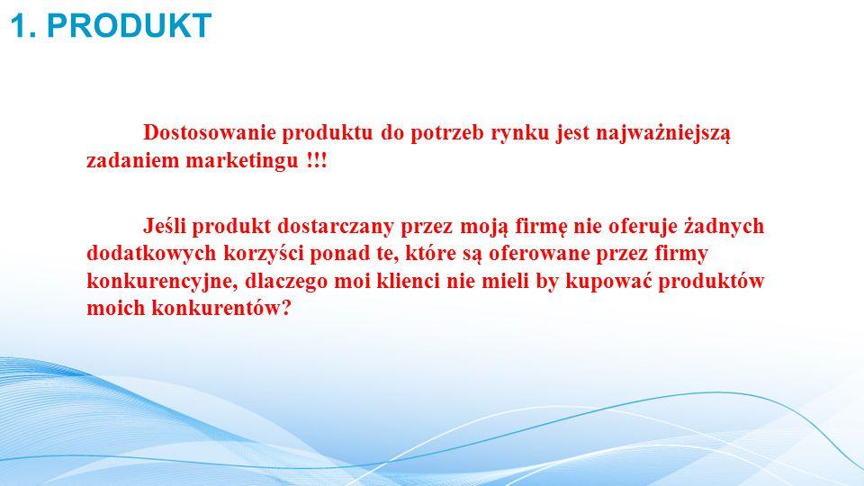 1. PRODUKT Dostosowanie produktu do potrzeb rynku jest najważniejszą zadaniem marketingu !!!