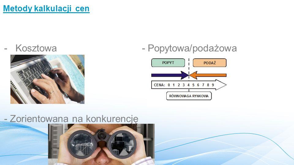- Kosztowa - Popytowa/podażowa