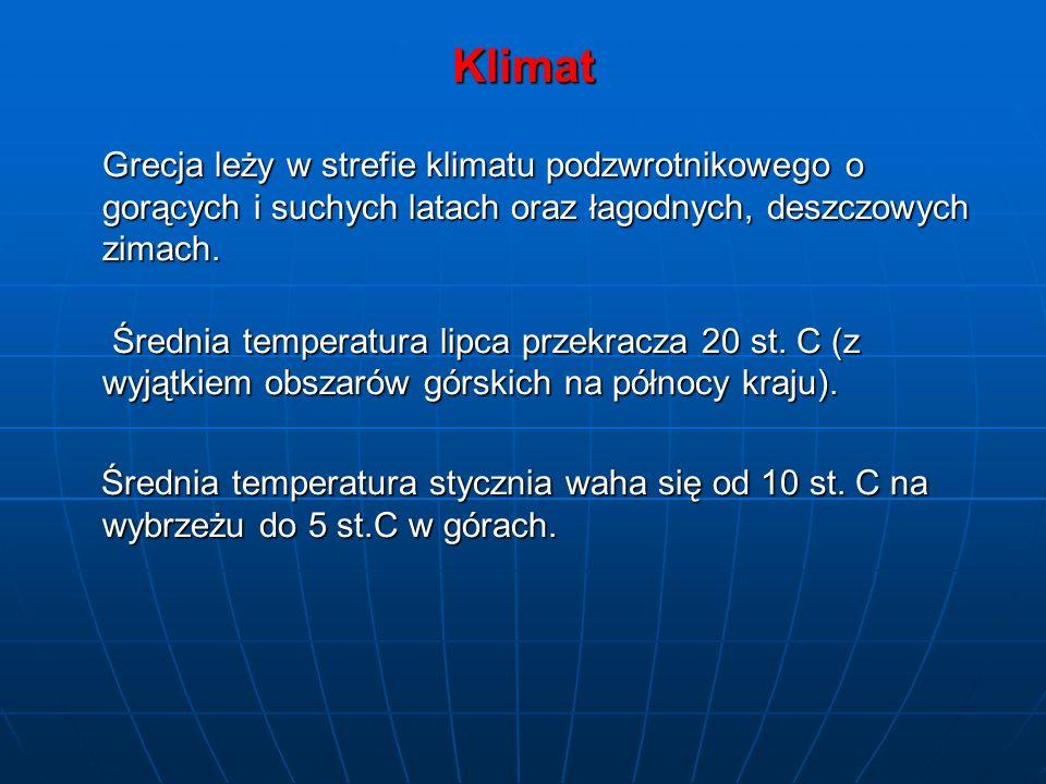 Klimat Grecja leży w strefie klimatu podzwrotnikowego o gorących i suchych latach oraz łagodnych, deszczowych zimach.