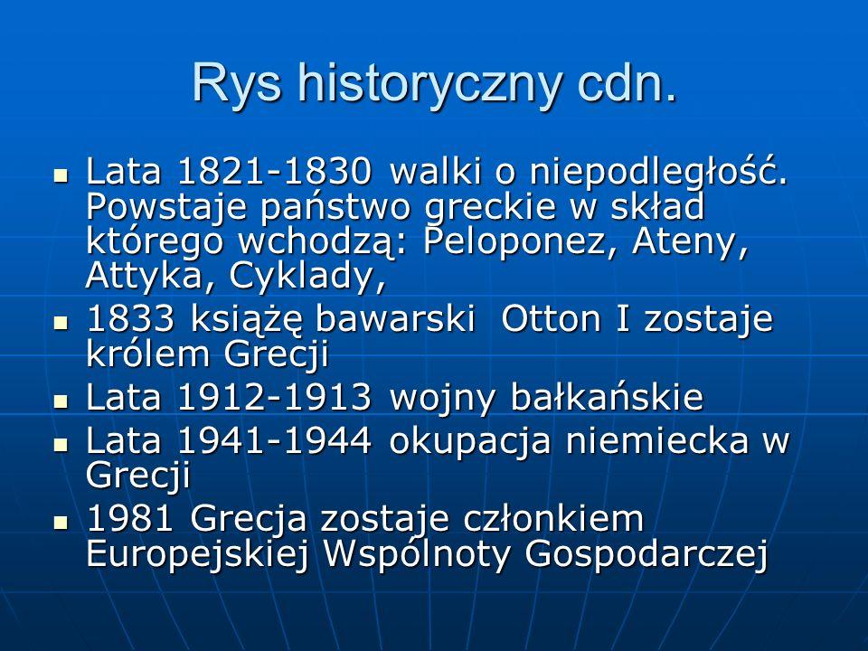 Rys historyczny cdn. Lata 1821-1830 walki o niepodległość. Powstaje państwo greckie w skład którego wchodzą: Peloponez, Ateny, Attyka, Cyklady,