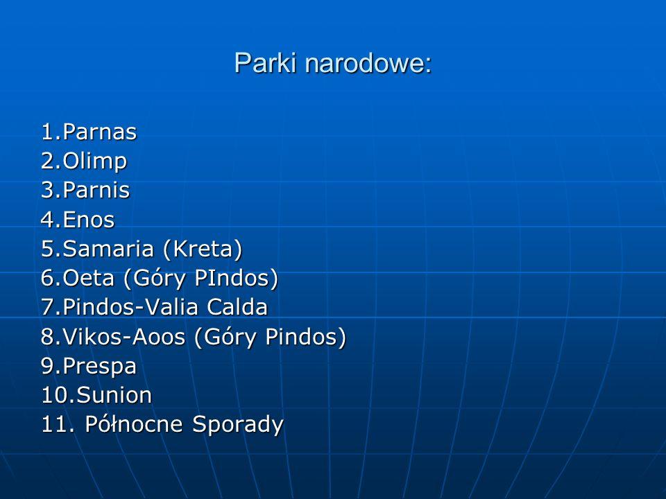 Parki narodowe: 1.Parnas 2.Olimp 3.Parnis 4.Enos 5.Samaria (Kreta)