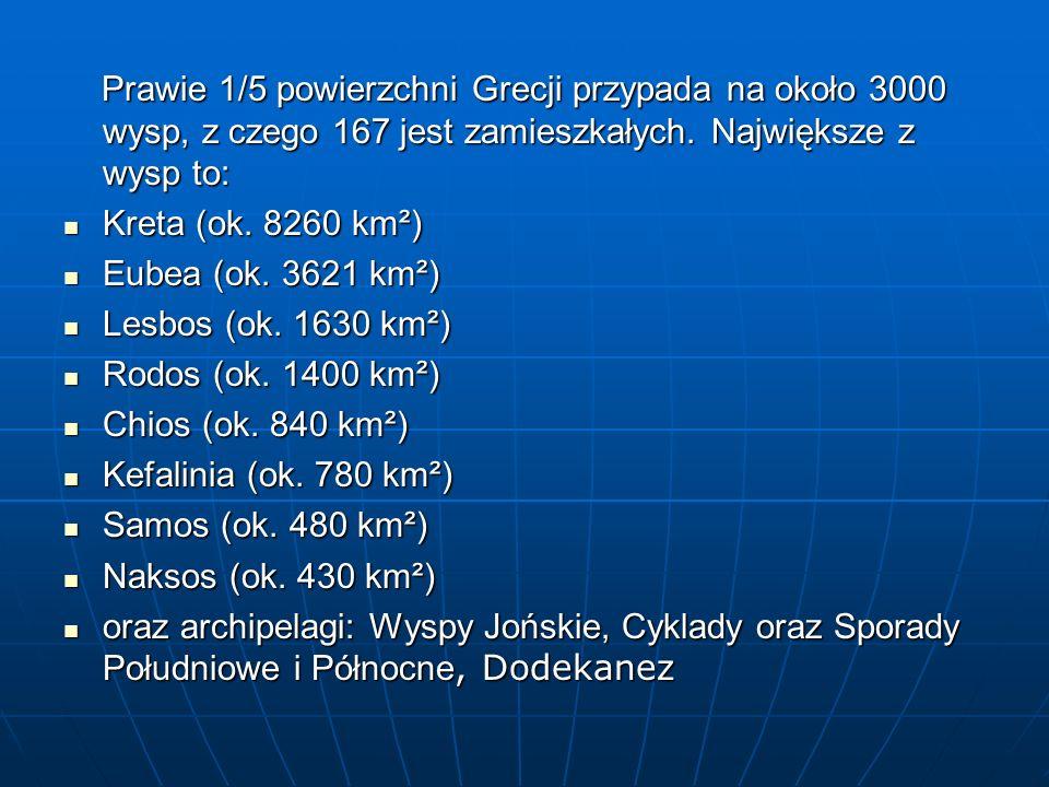 Prawie 1/5 powierzchni Grecji przypada na około 3000 wysp, z czego 167 jest zamieszkałych. Największe z wysp to: