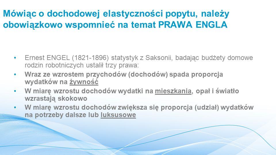 Mówiąc o dochodowej elastyczności popytu, należy obowiązkowo wspomnieć na temat PRAWA ENGLA