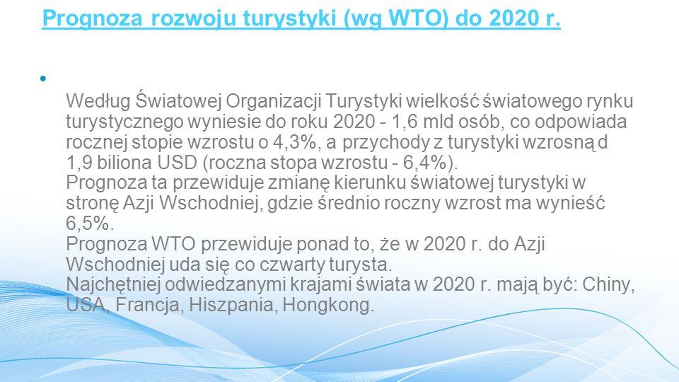 Prognoza rozwoju turystyki (wg WTO) do 2020 r.