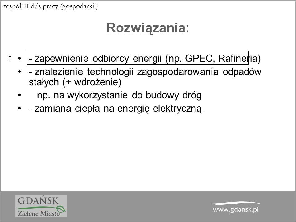 Rozwiązania: - zapewnienie odbiorcy energii (np. GPEC, Rafineria)