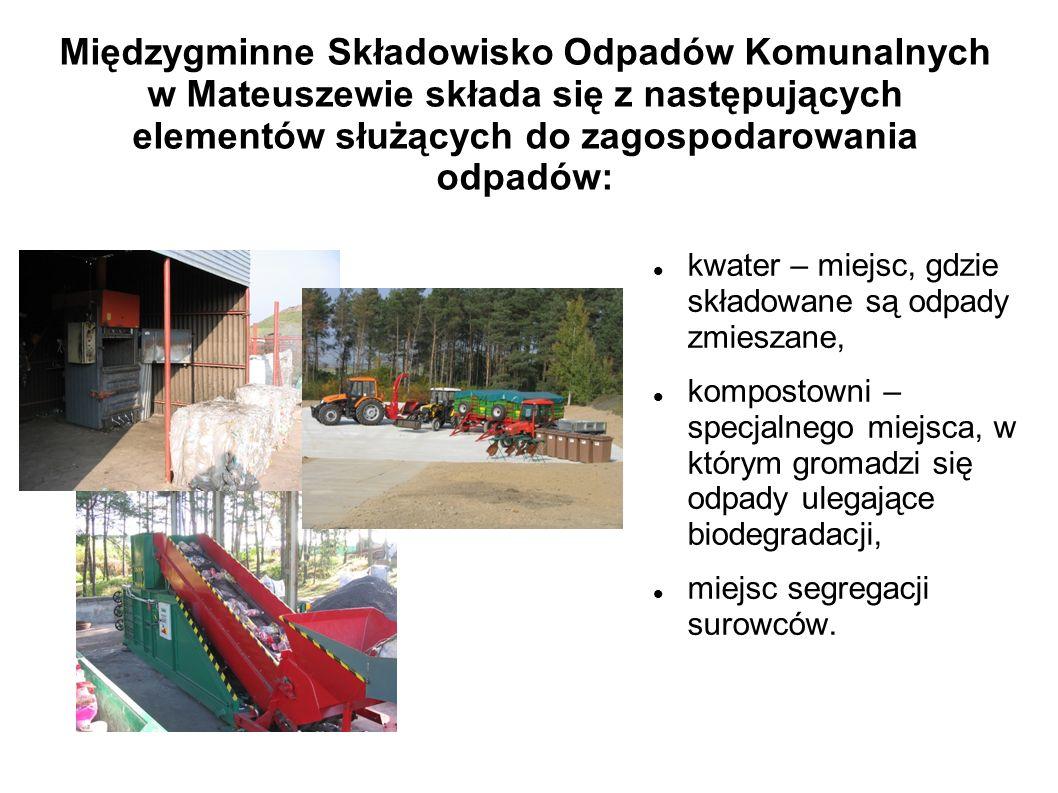Międzygminne Składowisko Odpadów Komunalnych w Mateuszewie składa się z następujących elementów służących do zagospodarowania odpadów: