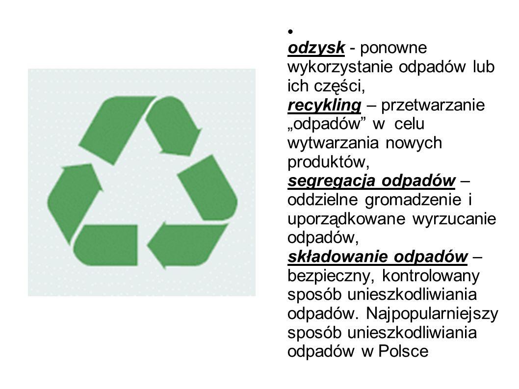 """odzysk - ponowne wykorzystanie odpadów lub ich części, recykling – przetwarzanie """"odpadów w celu wytwarzania nowych produktów, segregacja odpadów – oddzielne gromadzenie i uporządkowane wyrzucanie odpadów, składowanie odpadów – bezpieczny, kontrolowany sposób unieszkodliwiania odpadów."""