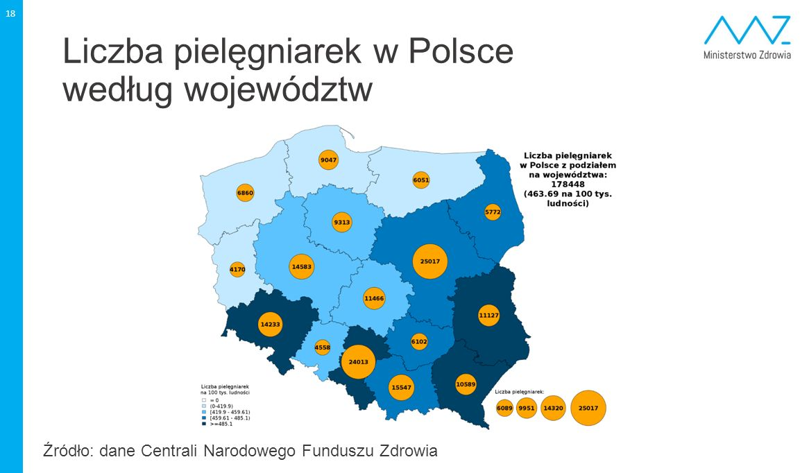 Liczba pielęgniarek w Polsce według województw