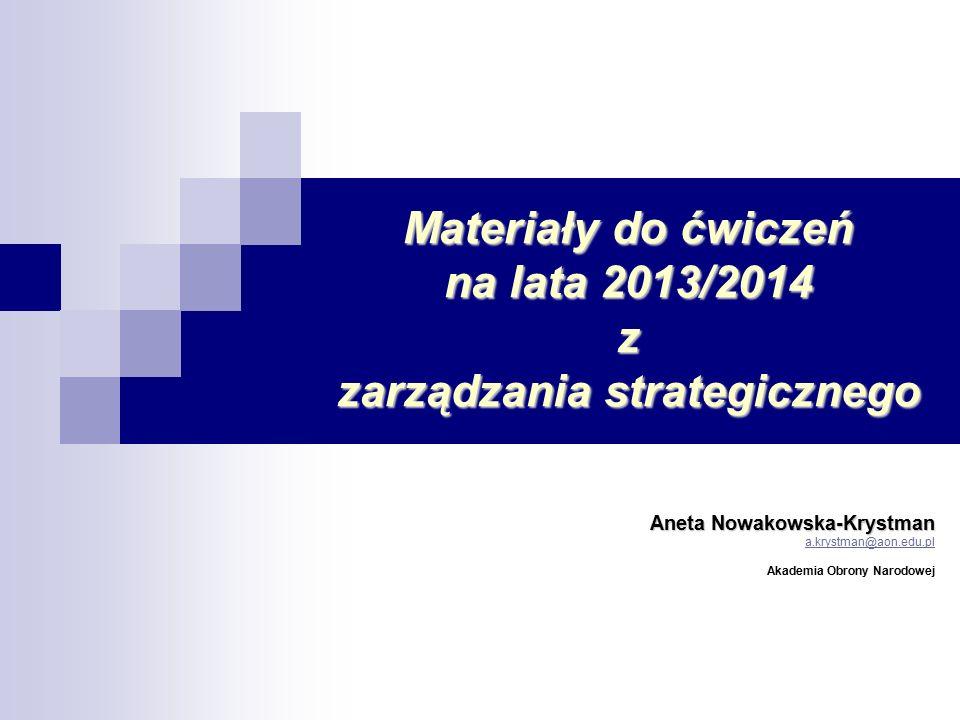 Materiały do ćwiczeń na lata 2013/2014 z zarządzania strategicznego