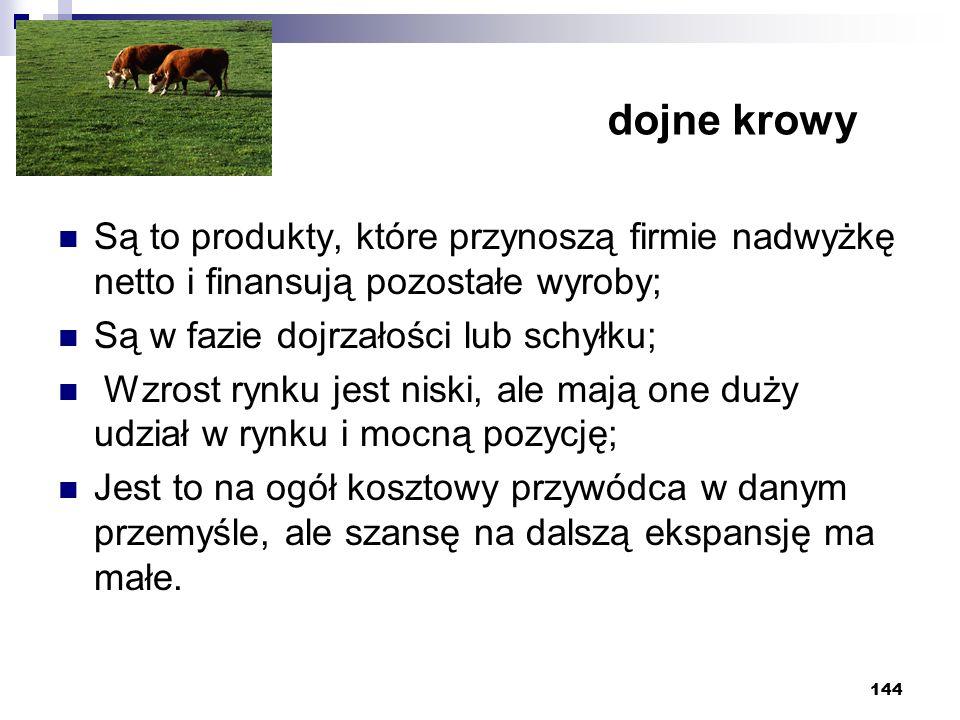 dojne krowy Są to produkty, które przynoszą firmie nadwyżkę netto i finansują pozostałe wyroby; Są w fazie dojrzałości lub schyłku;