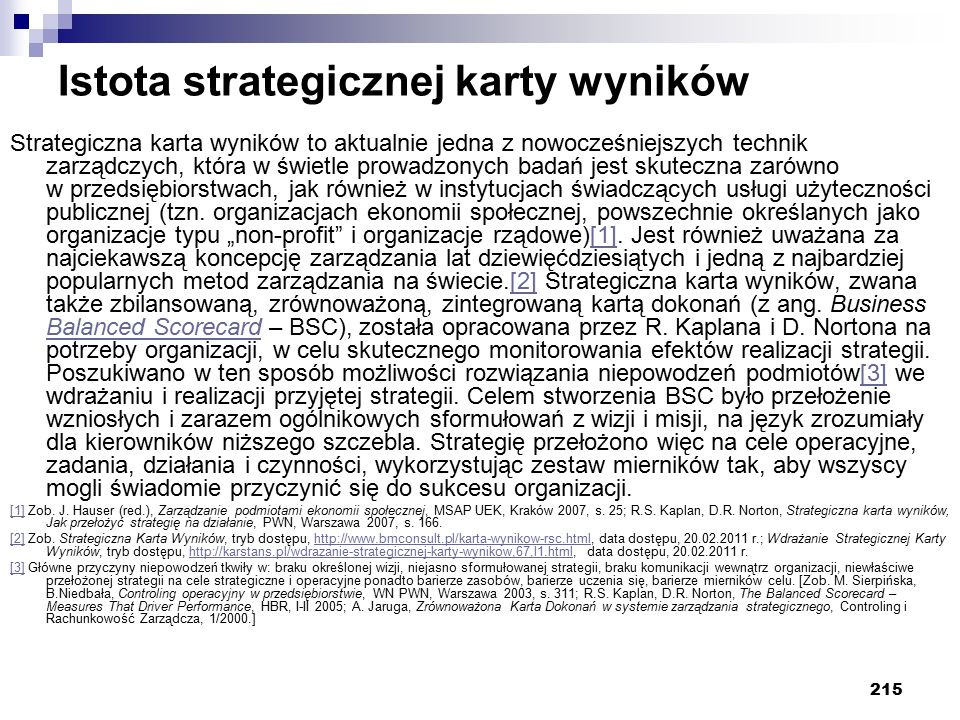 Istota strategicznej karty wyników