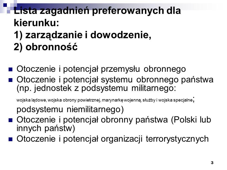 Lista zagadnień preferowanych dla kierunku: 1) zarządzanie i dowodzenie, 2) obronność