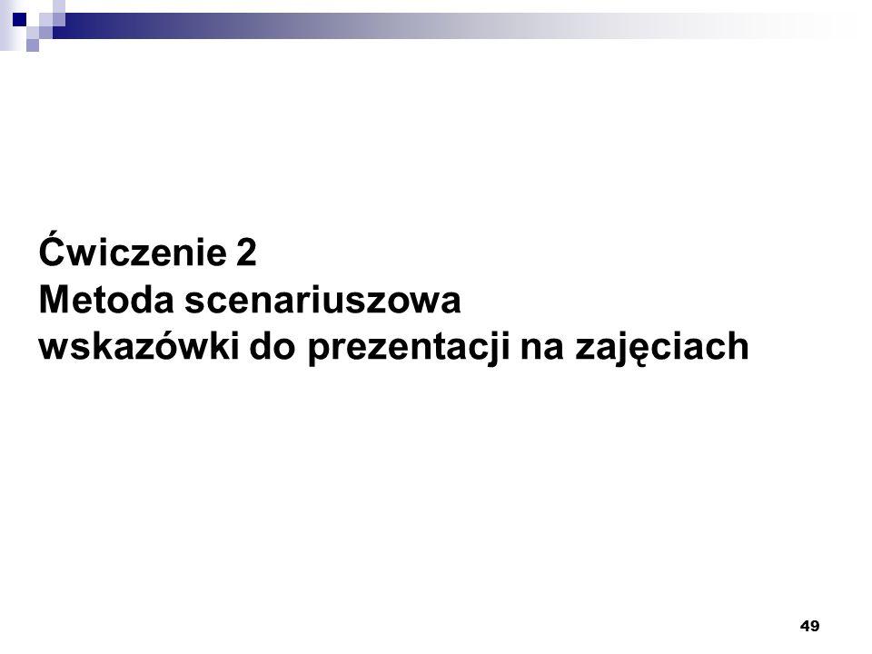 Ćwiczenie 2 Metoda scenariuszowa wskazówki do prezentacji na zajęciach