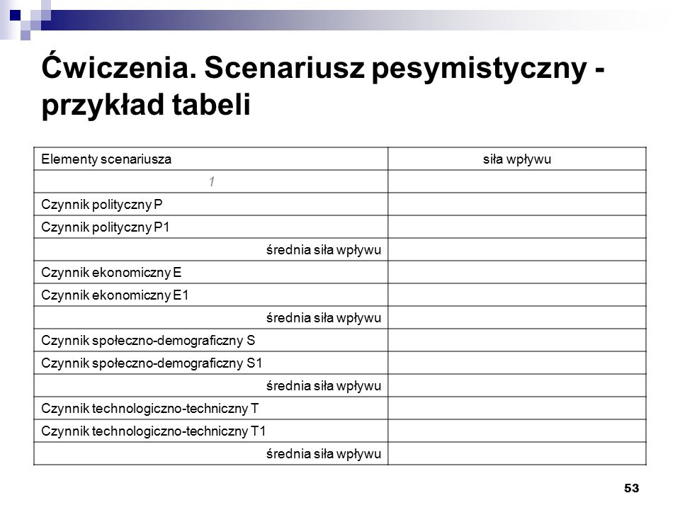 Ćwiczenia. Scenariusz pesymistyczny - przykład tabeli