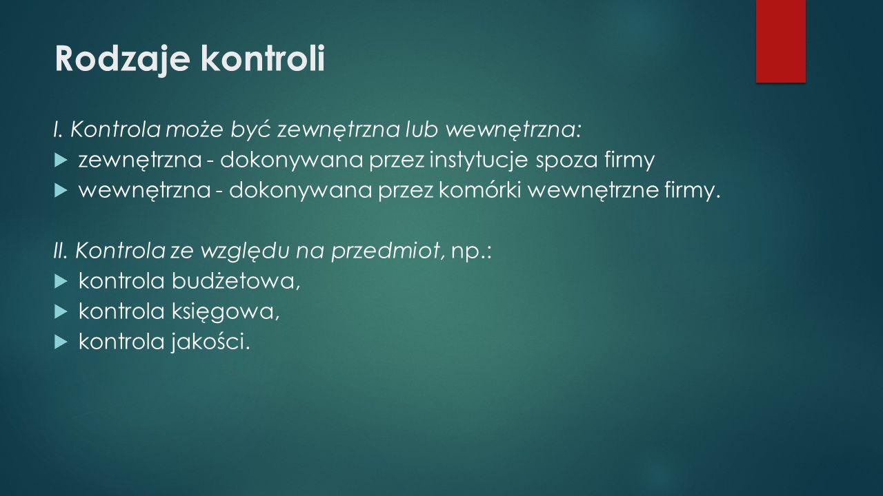 Rodzaje kontroli I. Kontrola może być zewnętrzna lub wewnętrzna: