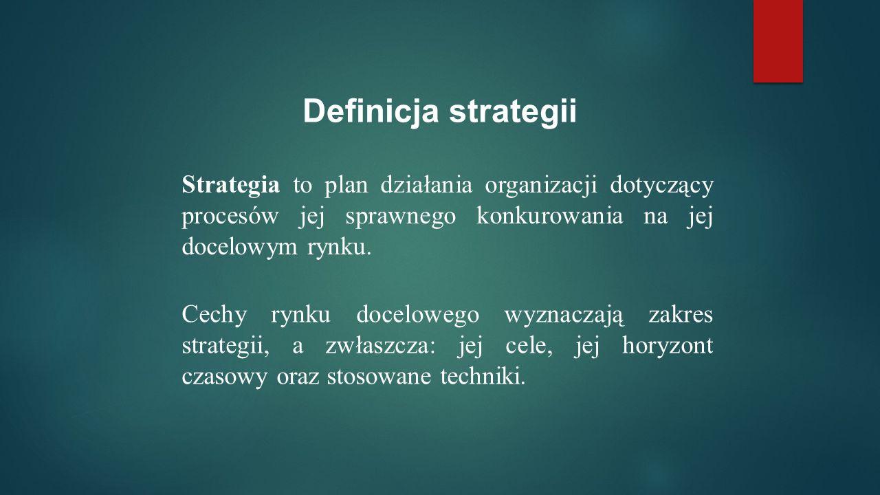 Definicja strategii Strategia to plan działania organizacji dotyczący procesów jej sprawnego konkurowania na jej docelowym rynku.