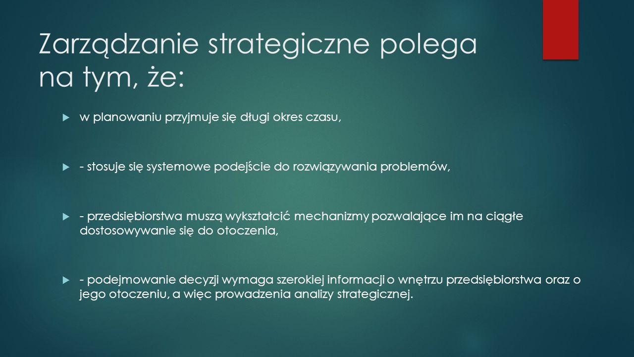 Zarządzanie strategiczne polega na tym, że: