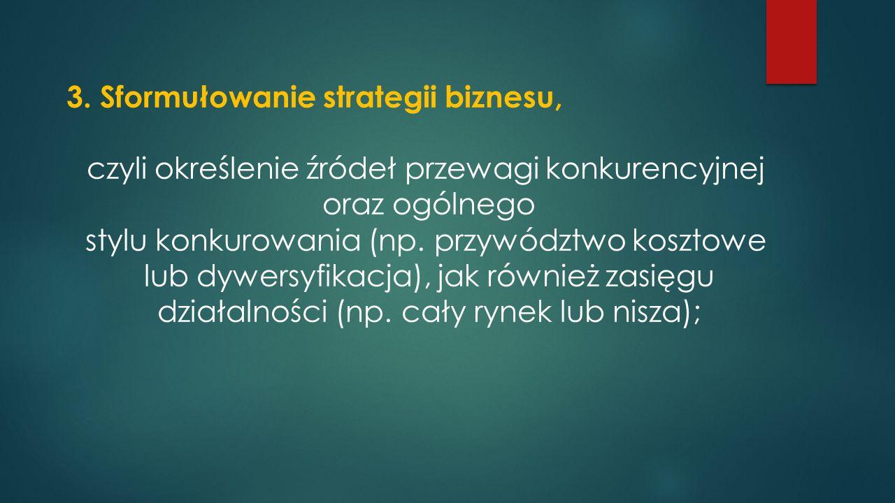 3. Sformułowanie strategii biznesu,