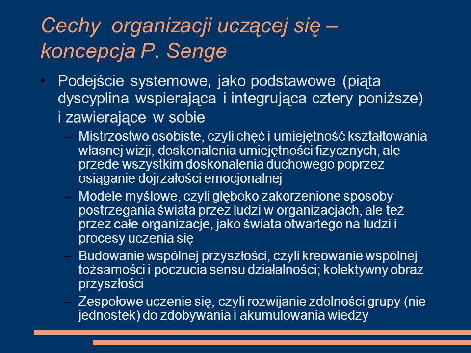 Cechy organizacji uczącej się – koncepcja P. Senge